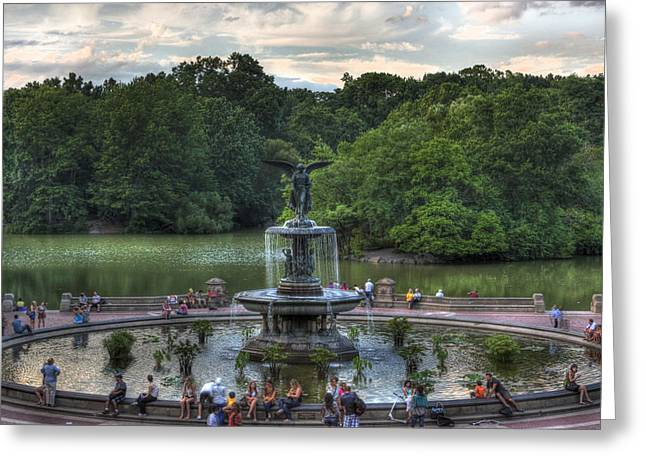 Interior Scene Greeting Cards - Angel of the Waters Fountain  Bethesda Greeting Card by Lee Dos Santos