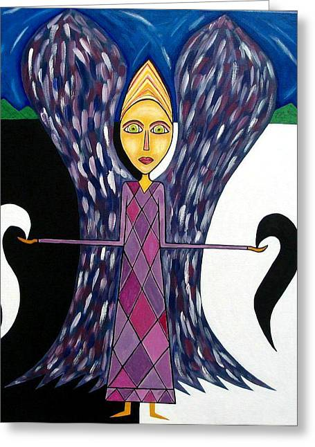 Ying Greeting Cards - Angel of Ying Yang Greeting Card by Sandra Marie Adams