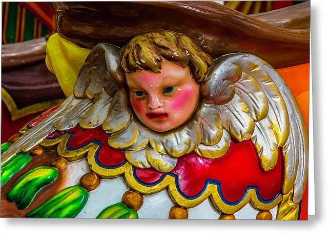 Angel On Carrousel Horse Greeting Card