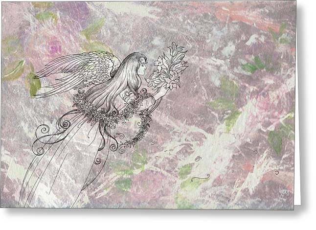 Greeting Card featuring the painting Angel On Pink And Green Florals by Judith Cheng