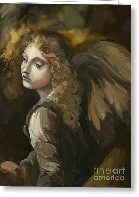 Angel On The Rocks Greeting Card by Carrie Joy Byrnes