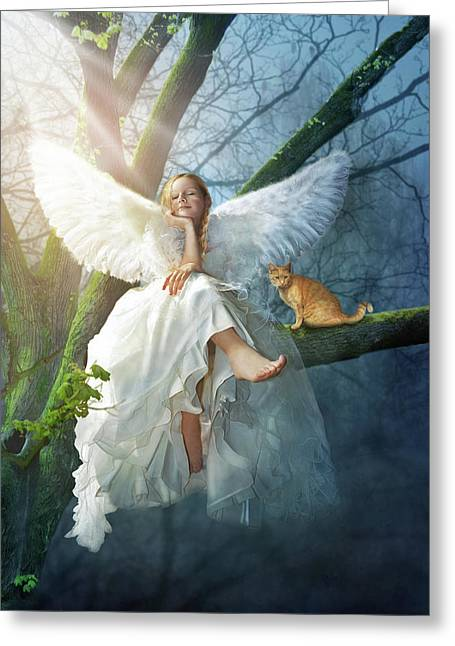 Angel On The Tree Greeting Card