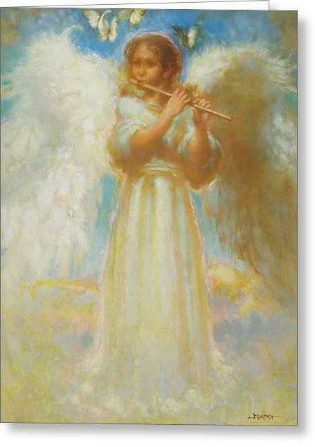 Angel Playing Flute Greeting Card by John Murdoch