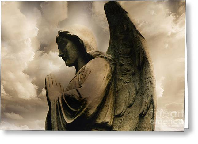 Angel Praying Spiritual Angel Art - Heavenly Angel Praying Hands Greeting Card by Kathy Fornal