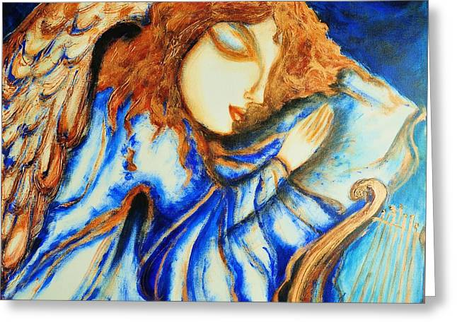Angel Sleeping Greeting Card by Rae Chichilnitsky