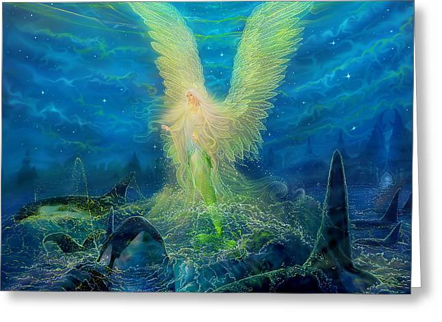 Angel Blues Greeting Cards - Angel tarot card Mermaid Angel Greeting Card by Steve Roberts