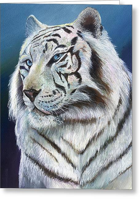 Greeting Card featuring the painting Angel The White Tiger by Sherry Shipley