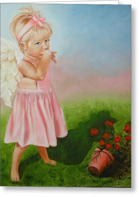 Greeting Card featuring the painting Angel Thumbs by Joni McPherson