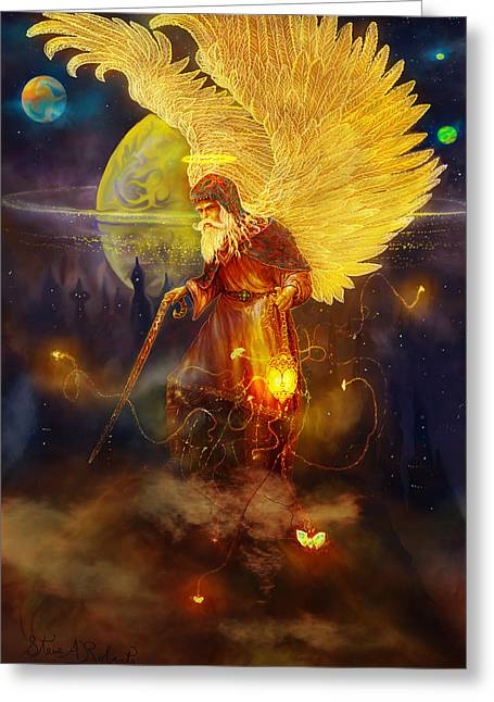 Greeting Card featuring the painting Angel Uriel by Steve Roberts