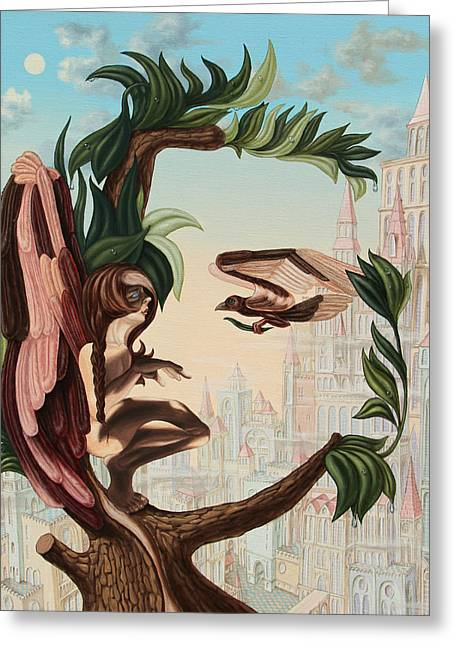 Angel, Watching The Reincarnation Of Marilyn Monroe On The Swinging City Towers Greeting Card