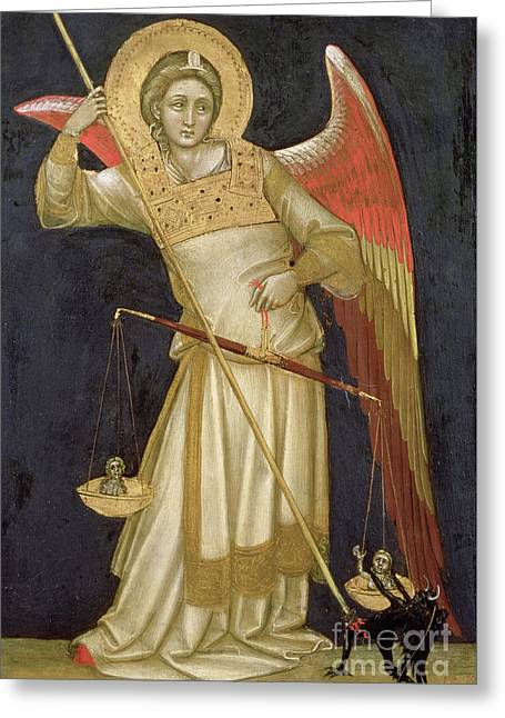 Angel Weighing A Soul Greeting Card by Ridolfo di Arpo Guariento
