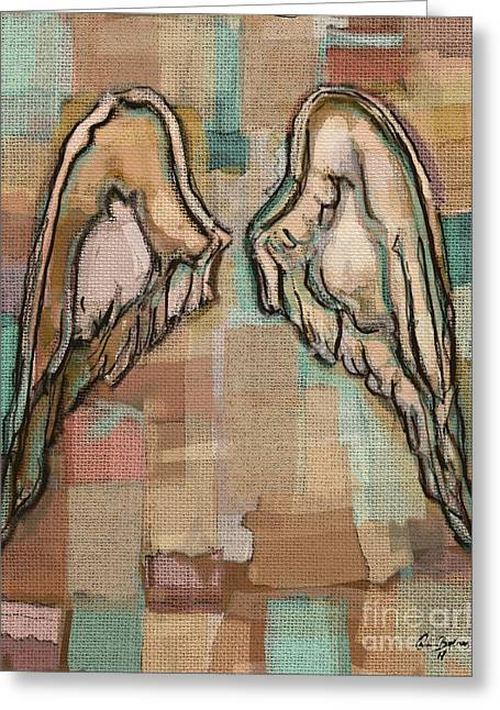 Greeting Card featuring the painting Angel Wings by Carrie Joy Byrnes