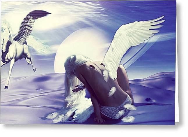 Angel With A Broken Wing Greeting Card by Riana Van Staden