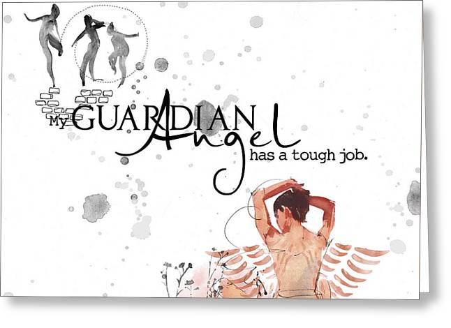 Angel With A Tough Job Greeting Card