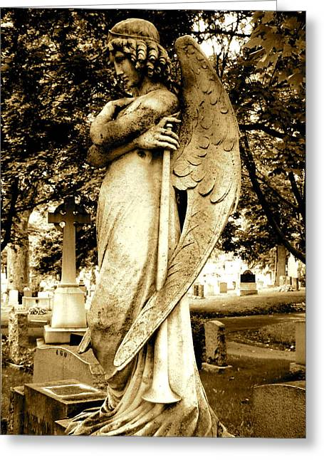 Angel Statue Greeting Cards - Angel With a Trumpet. Greeting Card by Loretta Fasan