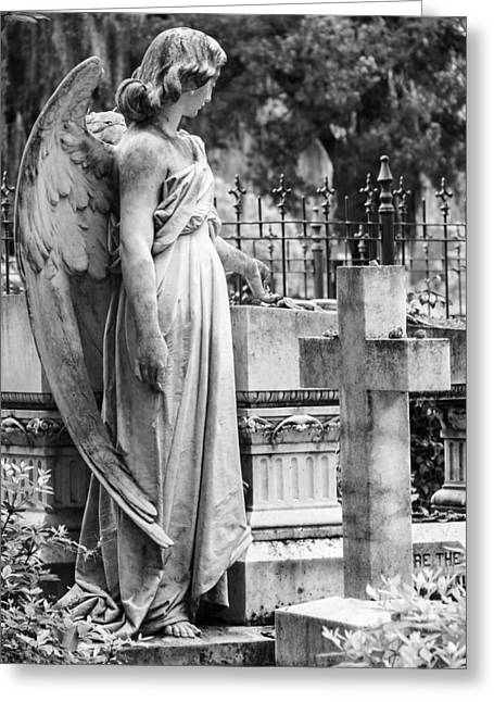 Angel With Cross Of Bonaventure Cemetery Greeting Card