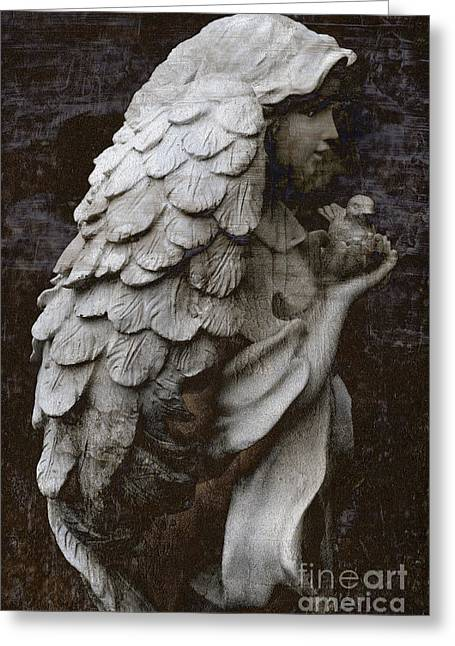 Surreal Angel Art Greeting Cards - Angel With Dove Of Peace - Angel Art Textured Print Greeting Card by Kathy Fornal