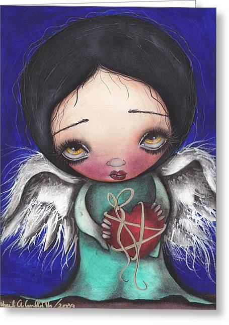Sacred Paintings Greeting Cards - Angel with Heart Greeting Card by  Abril Andrade Griffith