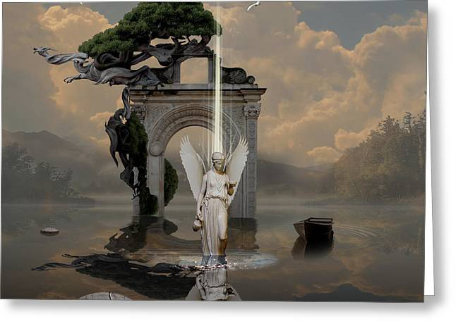 Greeting Card featuring the digital art Angel With Life Elixir by Alexa Szlavics