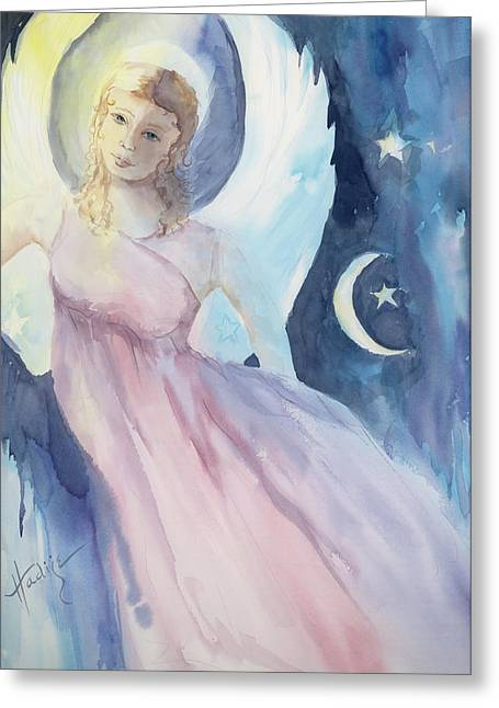 Angel With Star Greeting Cards - Angel with Moon and Stars Greeting Card by Mary DuCharme