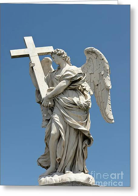 Angel With The Cross Greeting Card by Fabrizio Ruggeri