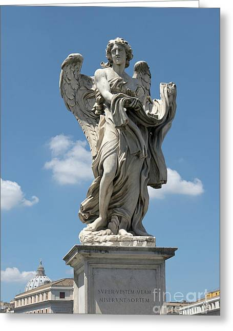 Angel With The Garment And Dice Greeting Card by Fabrizio Ruggeri