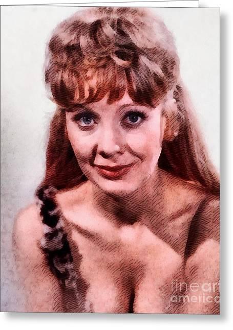 Angela Douglas, Vintage Actress Greeting Card by John Springfield