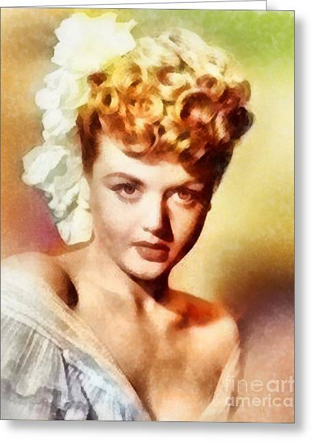 Angela Lansbury, Vintage Hollywood Actress Greeting Card by Frank Falcon