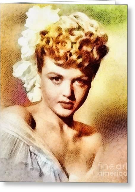 Angela Lansbury, Vintage Hollywood Actress Greeting Card by John Springfield