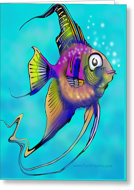 Greeting Card featuring the painting Angelfish by Kevin Middleton