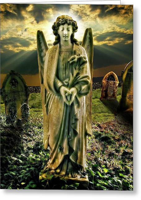 Angelic Light In Color Greeting Card by Meirion Matthias