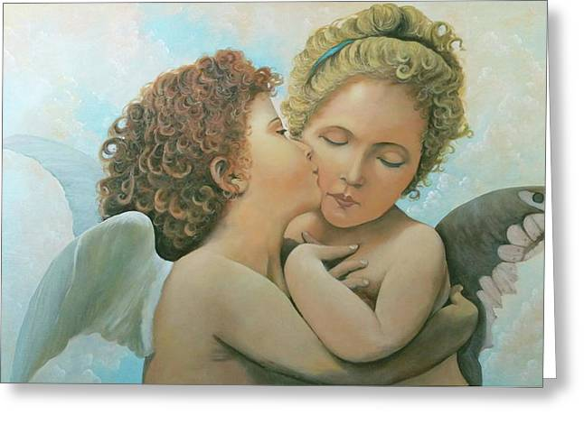 Greeting Card featuring the painting Bouguereau Angels- My Adaptation by Rosario Piazza