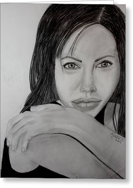 Angelina Jolie Greeting Card by Kimber  Butler
