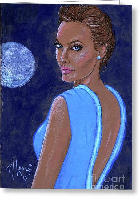 Angelina's Blue Moon Greeting Card by P J Lewis