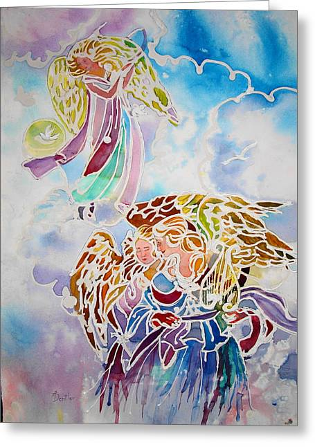 Greeting Card featuring the painting Angels Assending by AnnE Dentler