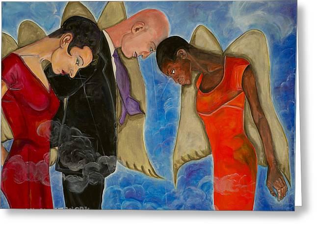 Angels At Work Greeting Card by Darlene Graeser