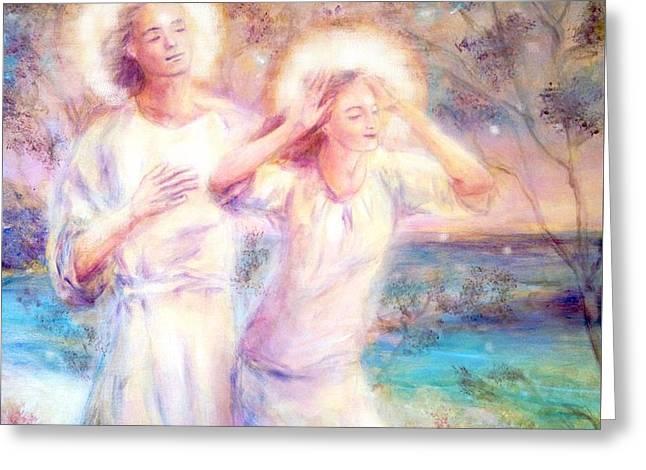 Angels By The Sea  Greeting Card by Marija Schwarz