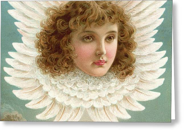 Angel's Head In Wings  Greeting Card