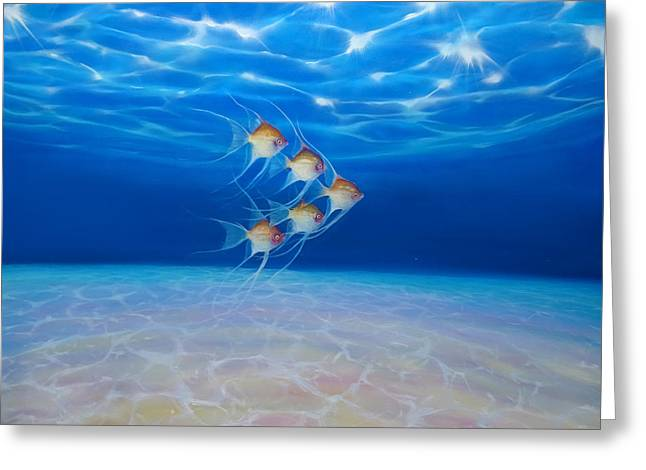 Angels In Formation - A Large Underwater Seascape Greeting Card