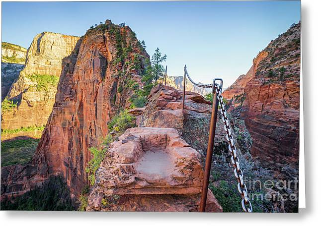 Angels Landing Hiking Trail Greeting Card by JR Photography