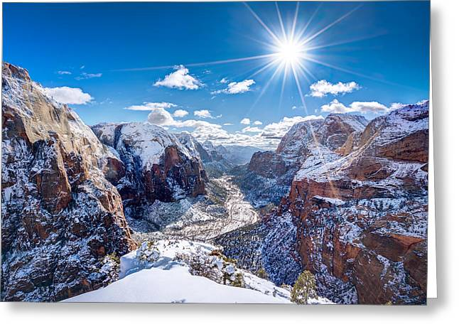 Angels Landing In Winter Greeting Card