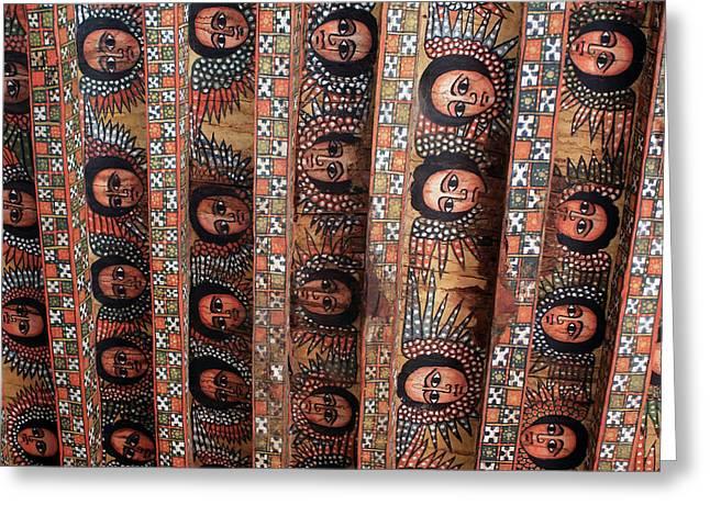 Angels On The Ceiling Of Debre Birhan Selassie Church Greeting Card