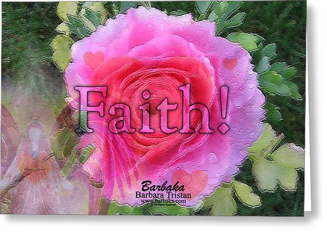 Greeting Card featuring the photograph Angels Pink Rose Of Faith by Barbara Tristan