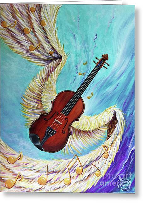 Greeting Card featuring the painting Angel's Song by Nancy Cupp