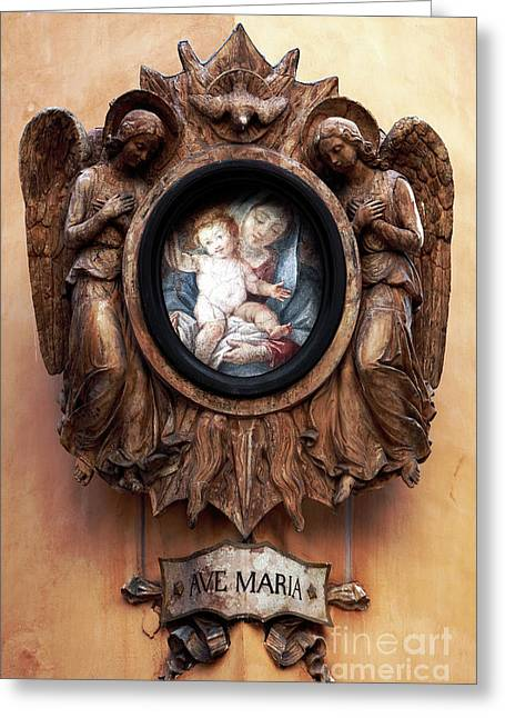 Angels Watching Over Greeting Card by John Rizzuto