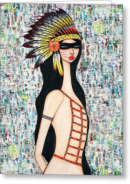 Greeting Card featuring the mixed media Angeni by Natalie Briney