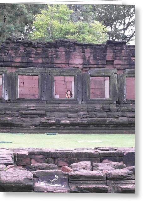 Angkor Daydream Greeting Card by Ian Scholan