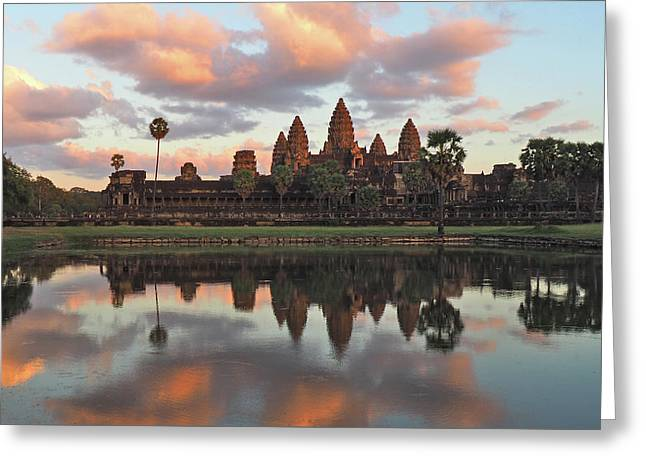 Angkor Sunset Greeting Card by Ryan Scholl