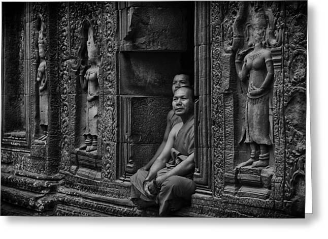 Angkor Wat Buddhist Monks Greeting Card by David Longstreath