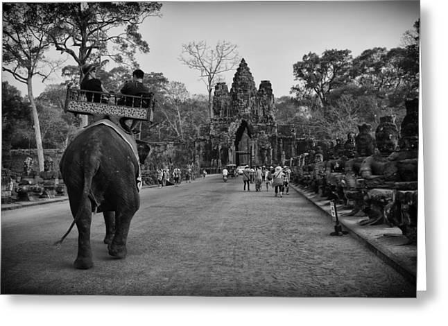 Angkor Wat Elephant Walk Greeting Card by David Longstreath